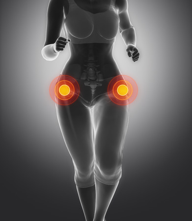 hip pain: Focused on hip in sports injuries Stock Photo