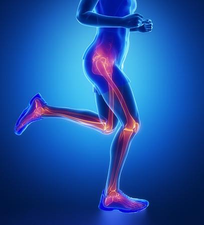 La rodilla, la cadera, el tobillo - exploración pierna corriendo hombre de azul
