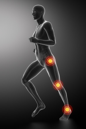 knee: Joint knee, hip and ankle - running man leg scan in blue Stock Photo