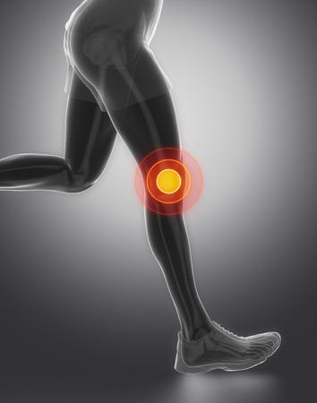 flexion: FOcused on knee Stock Photo