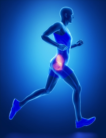 HIP - running man leg scan in blue Stock Photo
