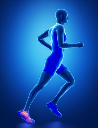 flail: ANkle - running man leg scan in blue