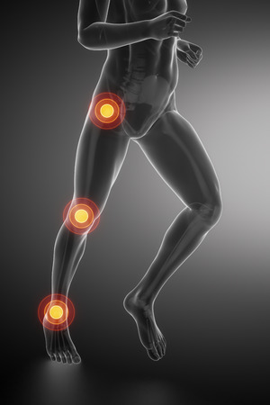 hip joint: Joint knee, hip and ankle - running man leg scan in blue Stock Photo
