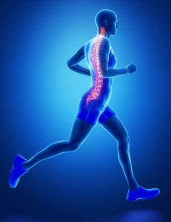 SPINE - Běžící muž noha skenování v modré barvě