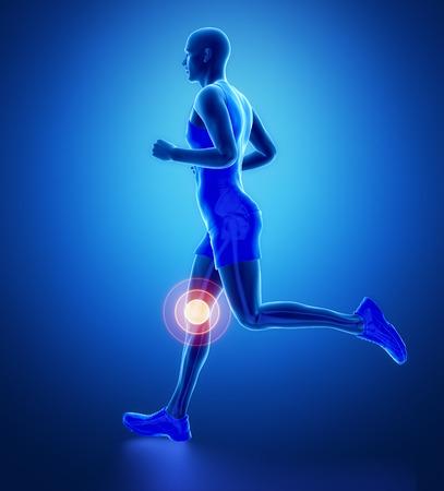 膝 - 青で実行中の男脚スキャン 写真素材