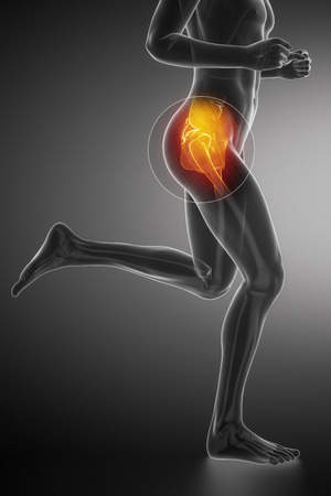 Hip - running man leg scan in blue