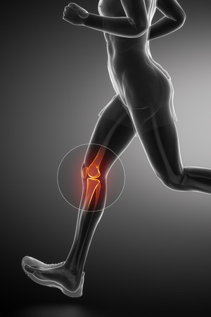 flexion: Knee - running man leg scan in blue Stock Photo