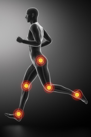 quadriceps: Joint knee, hip and ankle - running man leg scan in blue Stock Photo