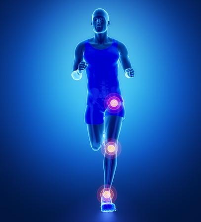 talus: Knee, hip, ankle - running man leg scan in blue
