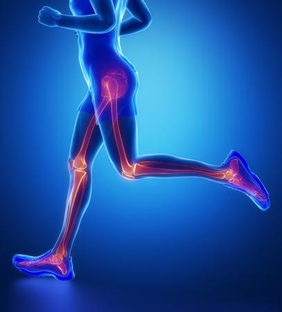 broken knee: Knee, hip, ankle - running man leg scan in blue