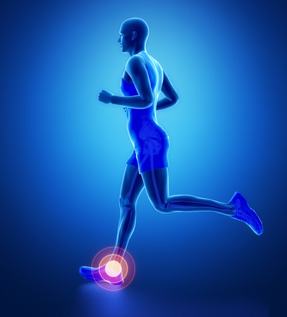 ANkle - running man leg scan in blue