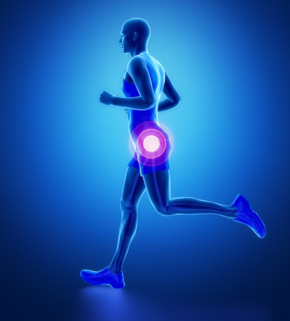femoral: HIP - running man leg scan in blue Stock Photo