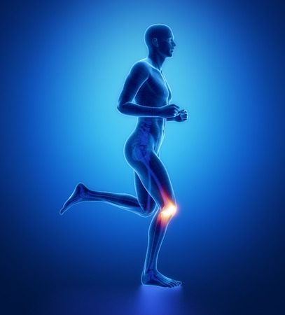 human knee: KNEE - running man leg scan in blue