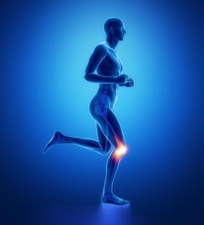 RODILLA - corriendo exploración pierna hombre de azul Foto de archivo - 40324098
