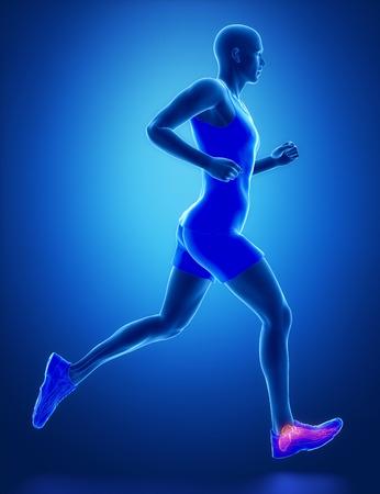 flexion: ANkle - running man leg scan in blue