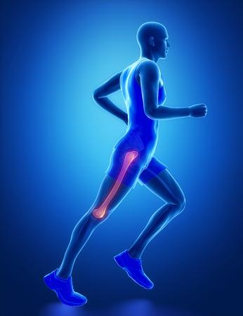 flexion: FEMUR - running man leg scan in blue
