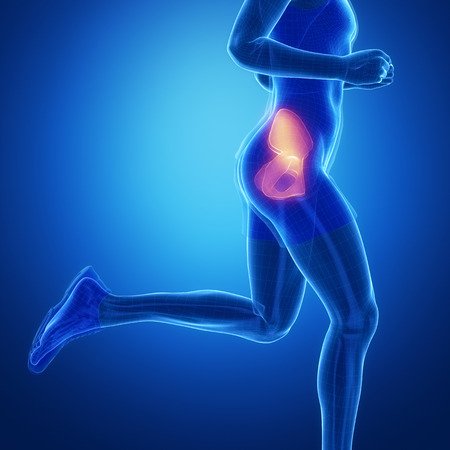 flail: HIP - running man leg scan in blue Stock Photo