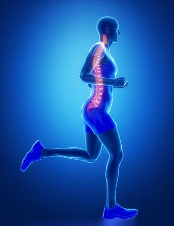 paraplegia: SPINE - running man leg scan in blue