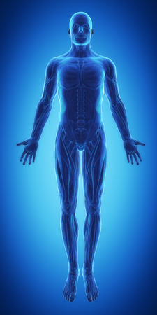 muscle strain: Blue man ready for muscle layer Stock Photo
