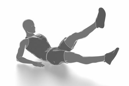 Fitness und Stretching auf weißem Hintergrund - aufwärmen Konzept Standard-Bild - 54728895