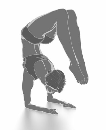 Fitness Frau, die sich auf weißem Hintergrund - Yoga-Konzept Standard-Bild - 54728896