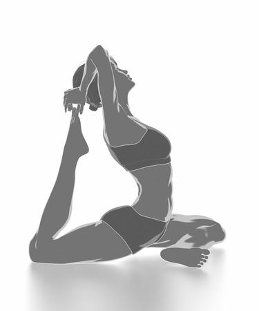 Fitness Frau, die sich auf weißem Hintergrund - Yoga-Konzept Standard-Bild - 54728940