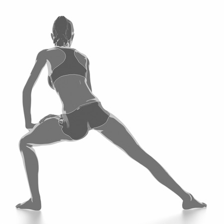 Fitness und Stretching auf weißem Hintergrund - aufwärmen Konzept Standard-Bild - 54728939