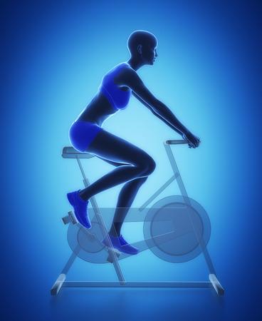 Trainieren Sie und Fitness-Konzept - Fahrrad aufwärmen Standard-Bild - 54728941
