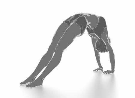 Eignungsfrau, die auf das Weiß getrennt - Yogakonzept ausdehnt Standard-Bild - 54728946
