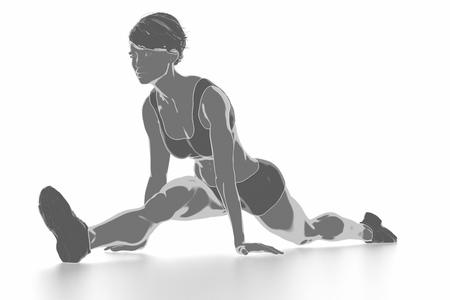 Fitness Frau, die sich isoliert auf weiß - aufwärmen Konzept Standard-Bild - 54728950