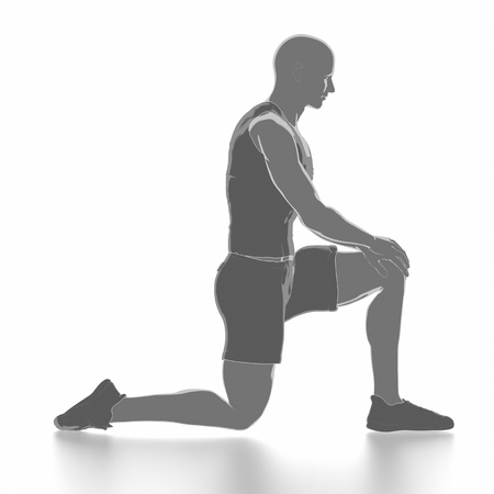 Fitness and stretching on white isolated - warm up concept