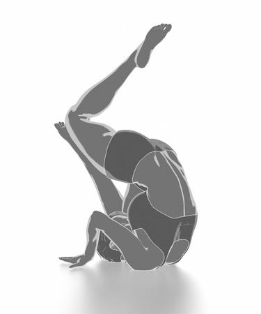 Fitness Frau, die sich auf weißem Hintergrund - Yoga-Konzept Standard-Bild - 54728953