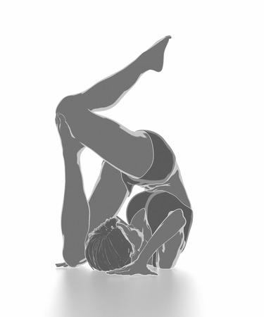 Fitness Frau, die sich auf weißem Hintergrund - Yoga-Konzept Standard-Bild - 54728955