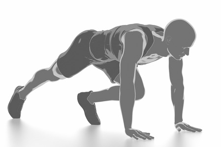 Fitness und Stretching auf weißem Hintergrund - aufwärmen Konzept Standard-Bild - 54728985