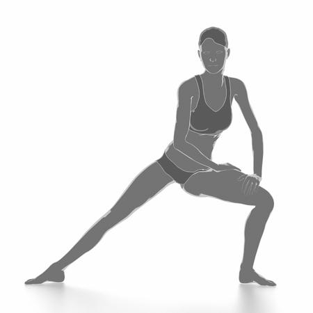stretching: Fitness y estira en blanco aislado - calentar concepto Foto de archivo