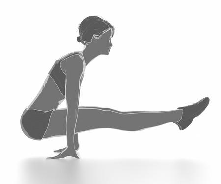 Fitness woman stretching on white isolated - warm up concept Stock fotó