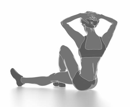 Fitness Frau, die sich isoliert auf weiß - aufwärmen Konzept Standard-Bild - 54728997