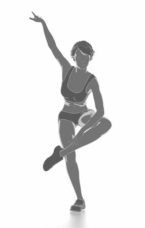 Fitness Frau, die sich isoliert auf weiß - aufwärmen Konzept Standard-Bild - 54729004