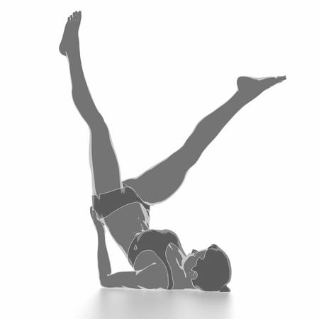 Fitness und Stretching auf weißem Hintergrund - aufwärmen Konzept Standard-Bild - 54729007