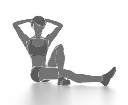Fitness Frau, die sich isoliert auf weiß - aufwärmen Konzept Standard-Bild - 54729008