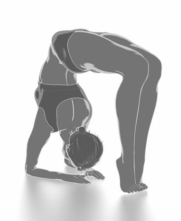 Fitness Frau, die sich auf weißem Hintergrund - Yoga-Konzept Standard-Bild - 54729039
