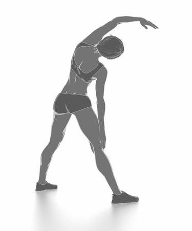 Fitness Frau, die sich isoliert auf weiß - aufwärmen Konzept Standard-Bild - 54729040