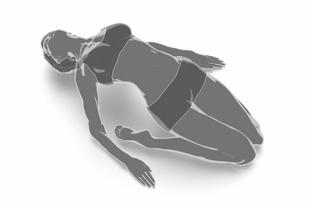 Fitness Frau, die sich auf weißem Hintergrund - Yoga-Konzept Standard-Bild - 54729048