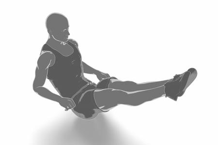 Fitness und Stretching auf weißem Hintergrund - aufwärmen Konzept Standard-Bild - 54729055
