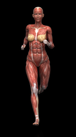 Running woman with visible muscles on black