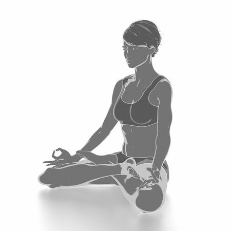 Fitness Frau, die sich auf weißem Hintergrund - Yoga-Konzept Standard-Bild - 54729062