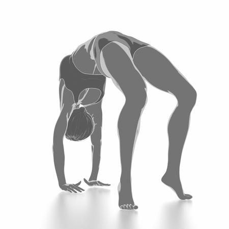 Fitness Frau, die sich auf weißem Hintergrund - Yoga-Konzept Standard-Bild - 54729072