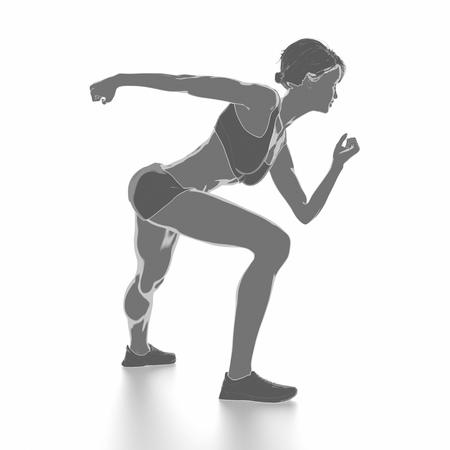 Fitness Frau, die sich isoliert auf weiß - aufwärmen Konzept Standard-Bild - 54729076