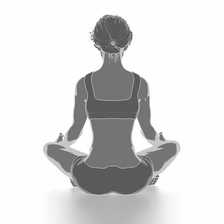 Fitness Frau, die sich auf weißem Hintergrund - Yoga-Konzept Standard-Bild - 54729078