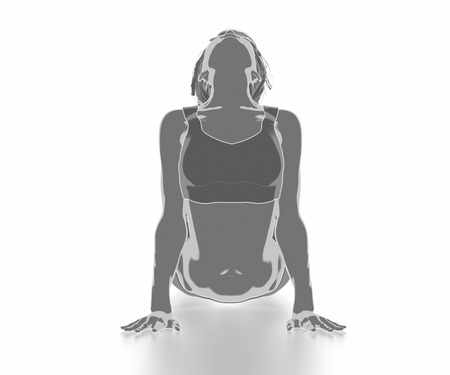 Fitness Frau, die sich auf weißem Hintergrund - Yoga-Konzept Standard-Bild - 54729150